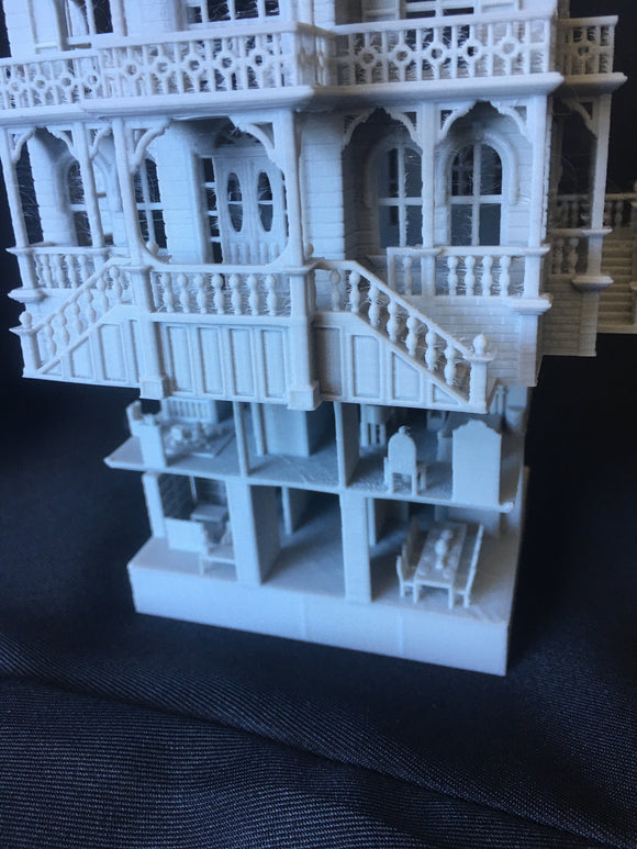FURNISHED Gray Miniature Haunted Mansion Victorian #4 House 1:87 HO Scale