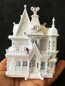 "N-Scale ""Nob Hill"" house White Miniature Mansion by Gold Rush Bay (1:160) Including Interiors"