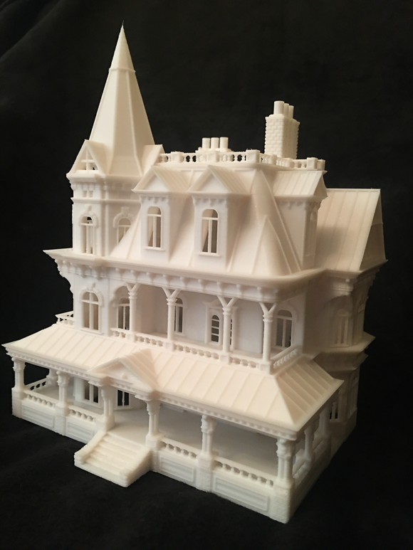 N-Scale Miniature Victorian #12 Madam Sally House Assembled Gothic Train White