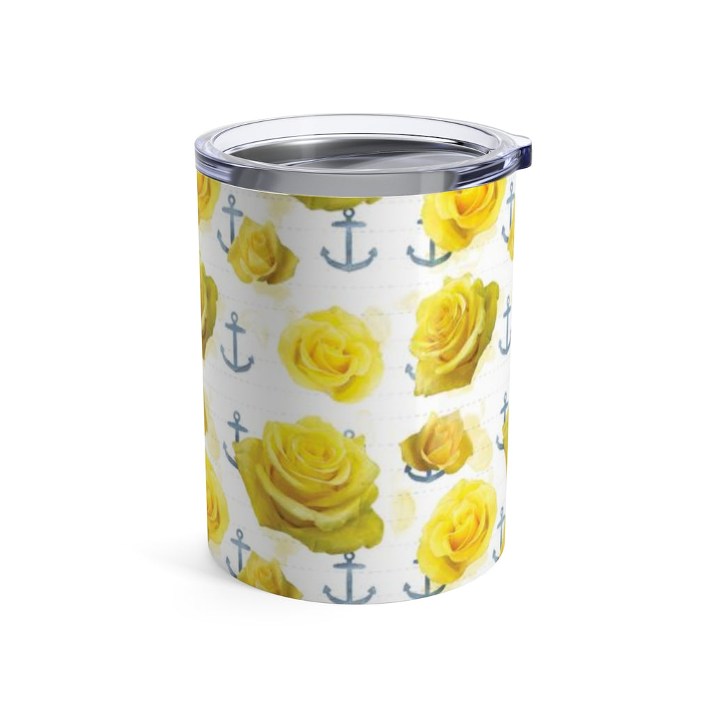 Yellow Roses and Anchors - Wine Tumbler