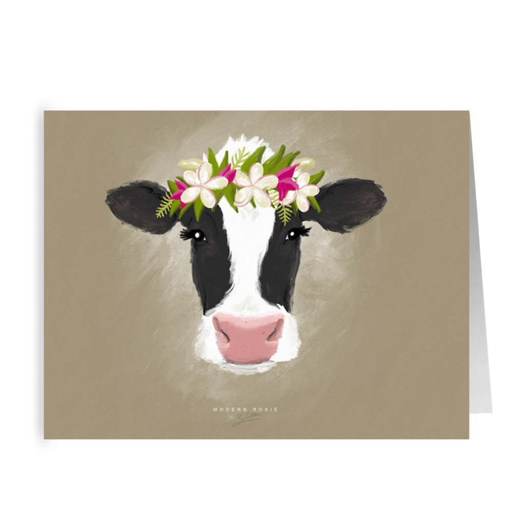 Aloha Cow (Cream) Folded Cards