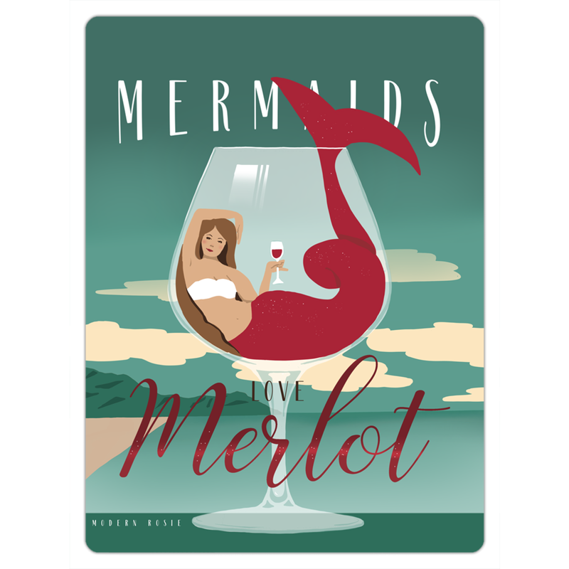 Mermaids Love Merlot - Magnet
