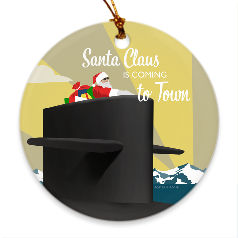 Submarine Santa Porcelain Ornament