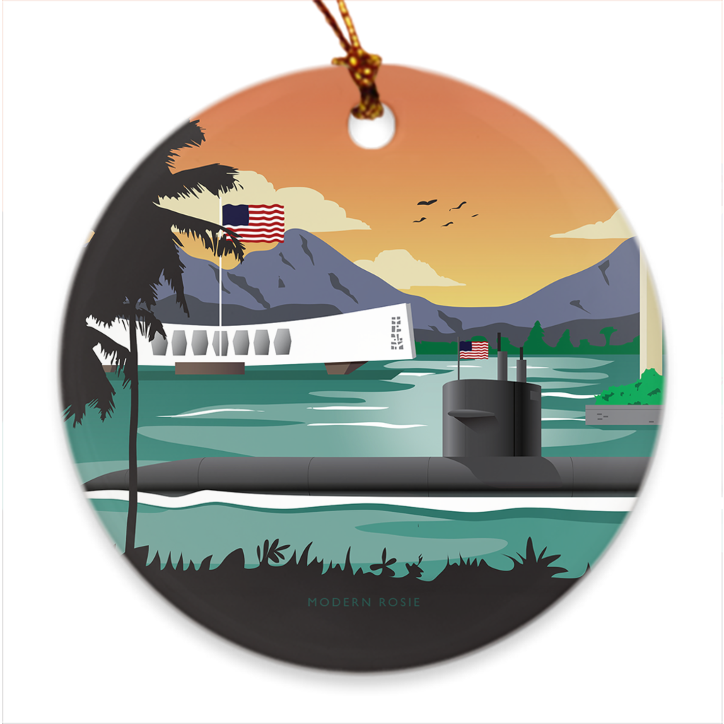 Pearl Harbor Submarine Porcelain Ornament