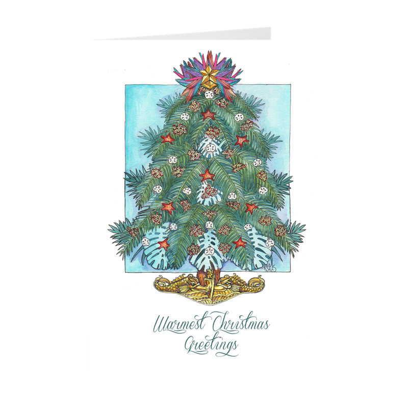 Tropical Dolphin Tree - Submarine Christmas Cards (gold dolphins)