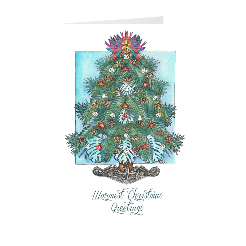 Tropical Dolphin Tree Submarine Christmas Cards (silver dolphins)