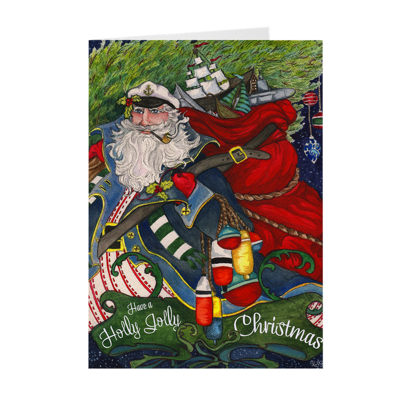 Holly Jolly Nautical Santa 5x7 Christmas Cards