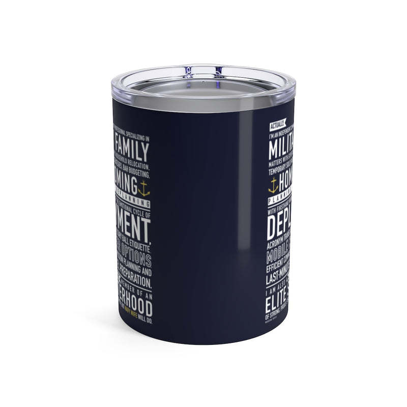 Navy Wife Will Do - Wine Tumbler (navy blue)