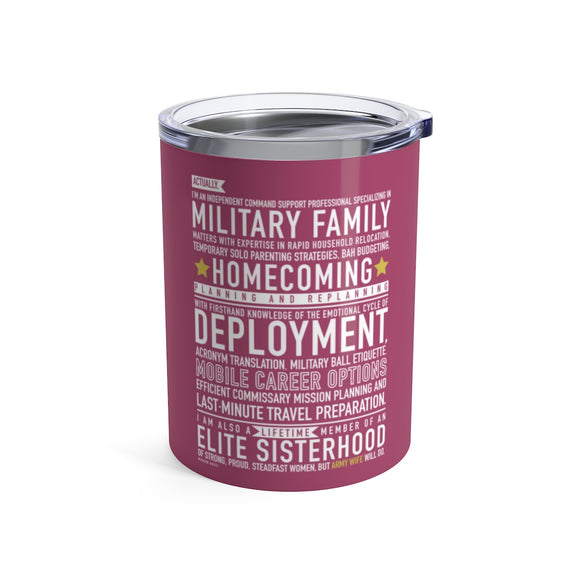 Army Wife Will Do - Wine Tumbler (pink)