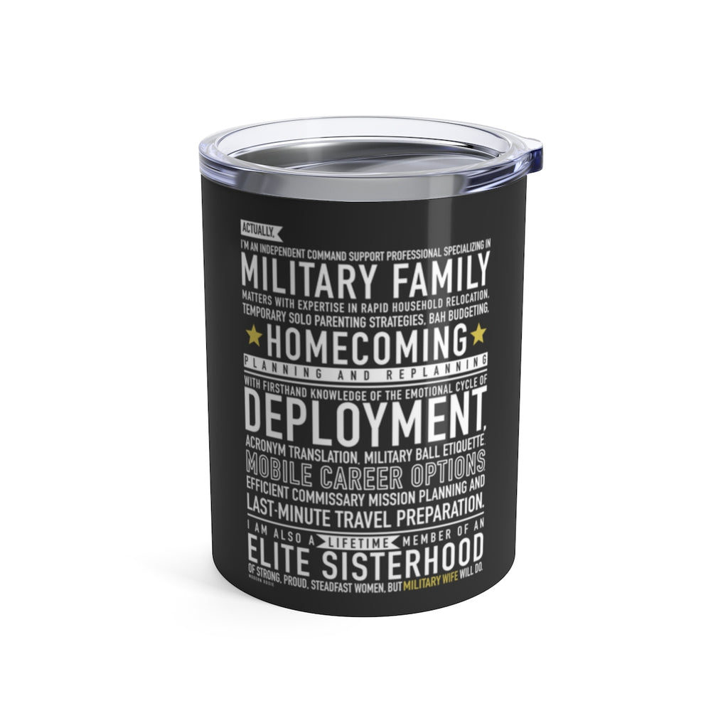 Military Wife Will Do - Wine Tumbler (gray)