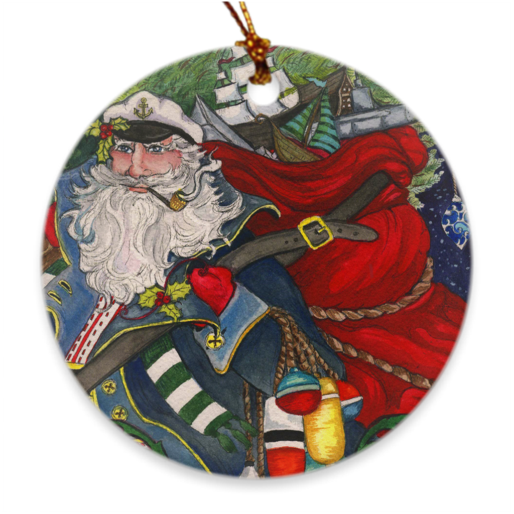 Holly Jolly Santa Christmas Ornament
