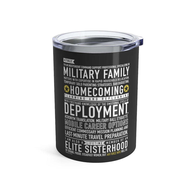 Air Force Wife Will Do - Wine Tumbler (gray)