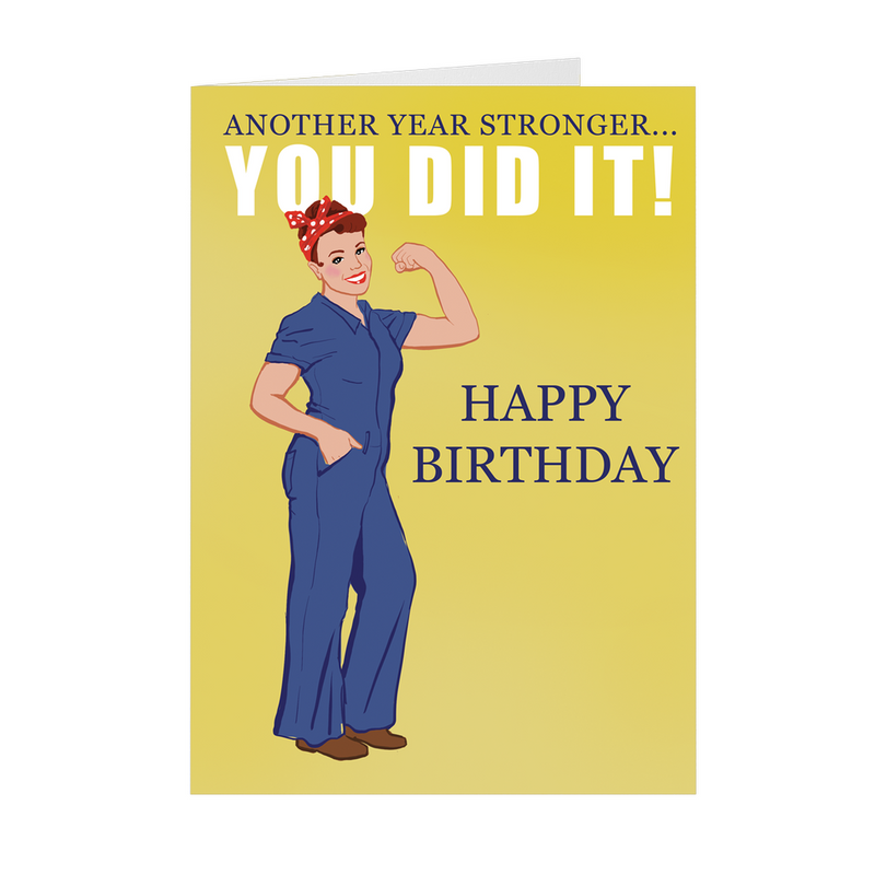 Rosie the Riveter Inspired Birthday Card - 5x7 Folded Card