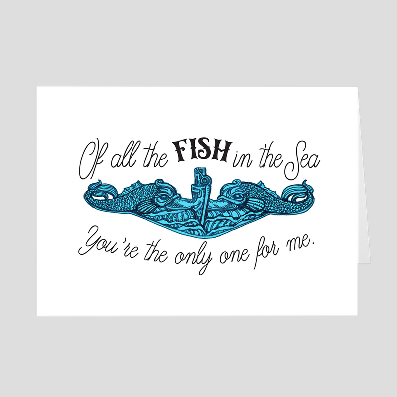All the Fish in the Sea - Submarine Valentine 5x7 Folded Card