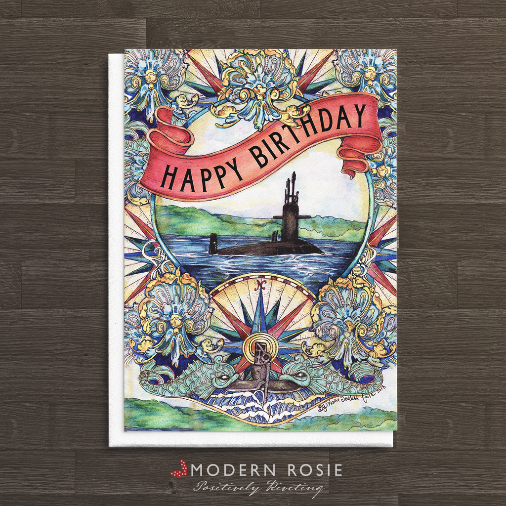 Submarine Charming -5x7 Birthday Folded Card