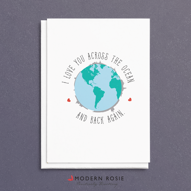 I Love You Across the Ocean and Back Again - Navy Ships 5x7 Folded Card