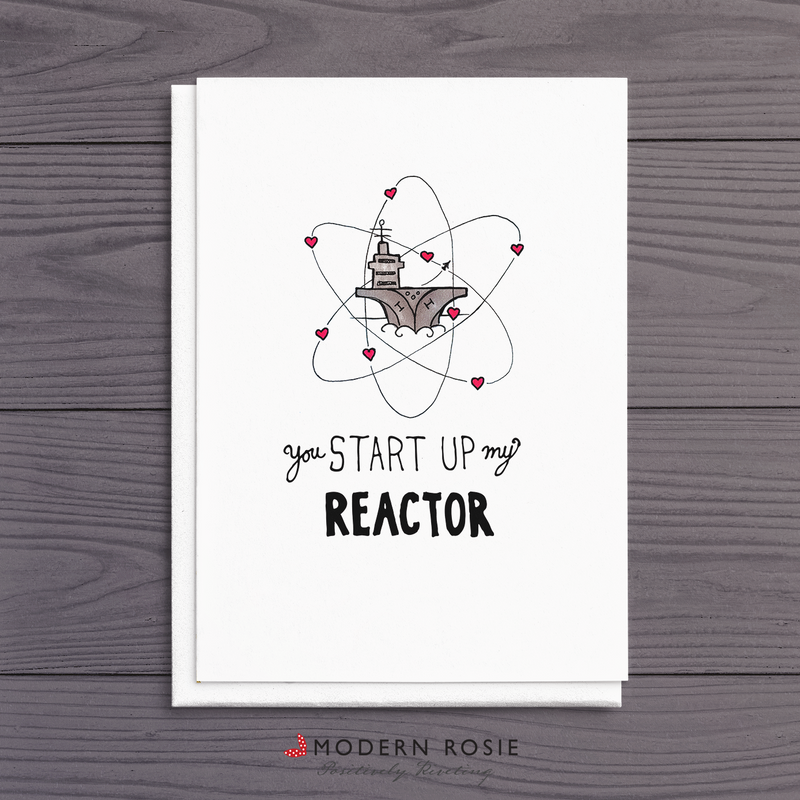 You Start Up My Reactor - Aircraft Carrier Valentine 5x7 Folded Card
