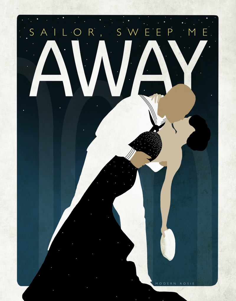 Sailor Sweep Me Away - CUSTOM Romantic Navy Ball Print