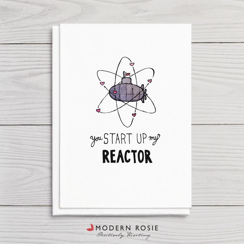 You Start Up My Reactor - Submarine Valentine 5x7 Folded Card