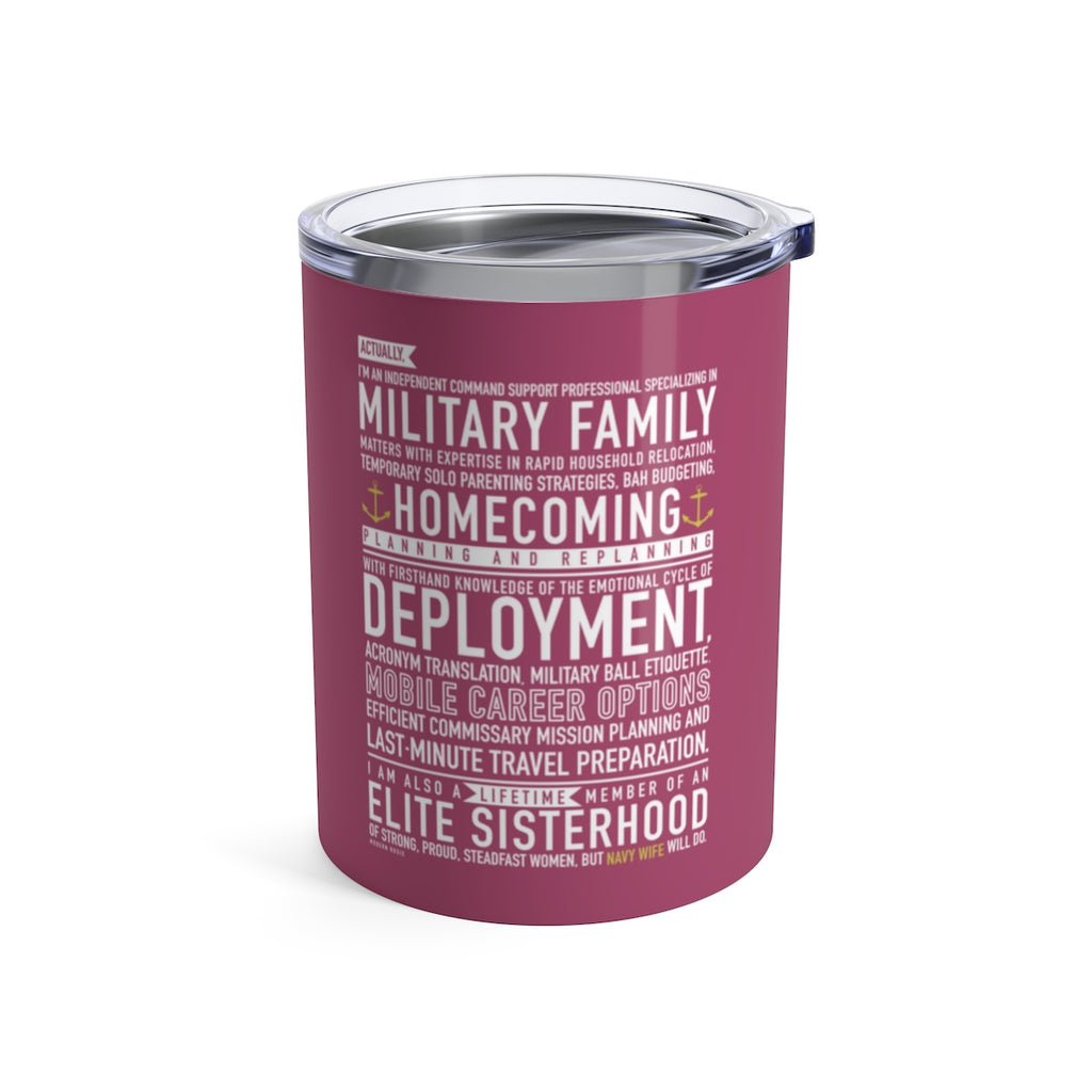 Navy Wife Will Do - Wine Tumbler (pink)