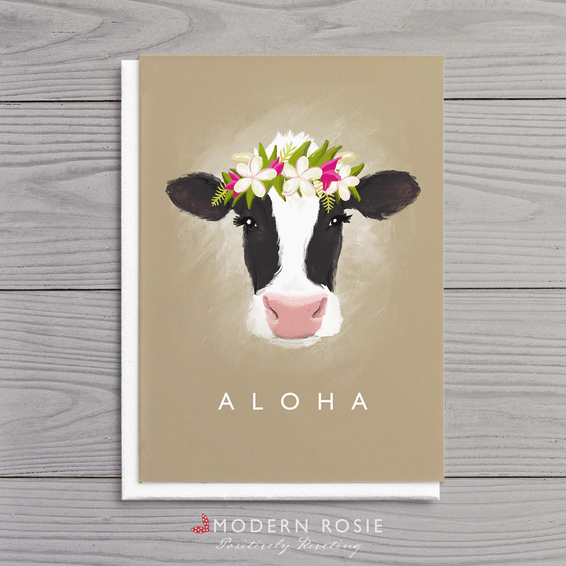 Aloha Cow - 5x7 Folded Card