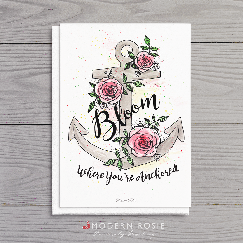 Bloom Where You're Anchored - 5x7 Folded Card
