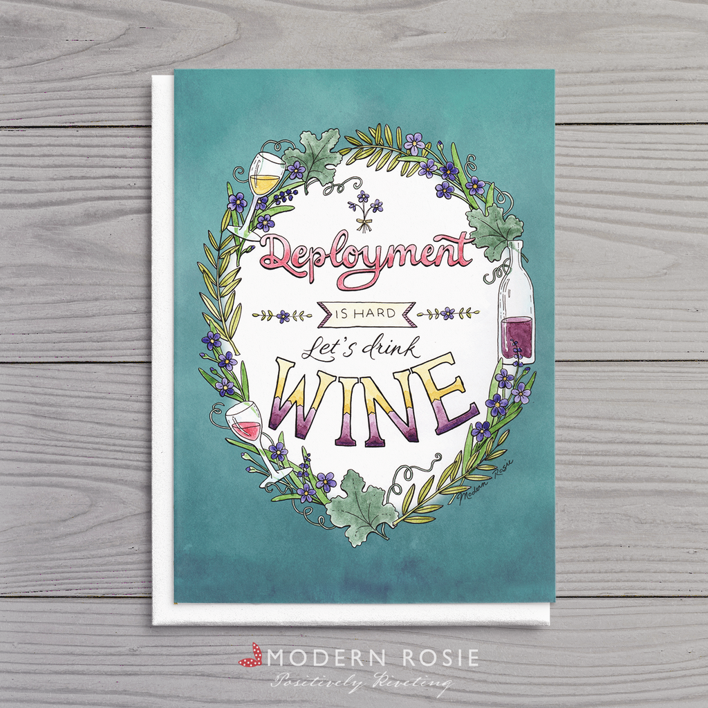 Deployment Wine - 5x7 Folded Card