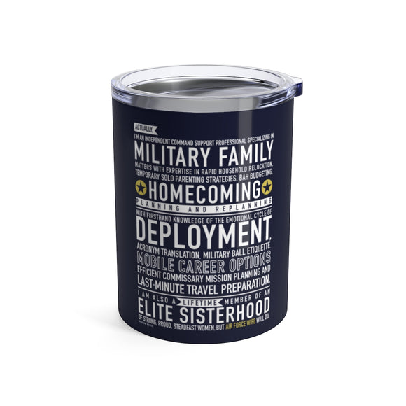 Air Force Wife Will Do - Wine Tumbler (navy blue)