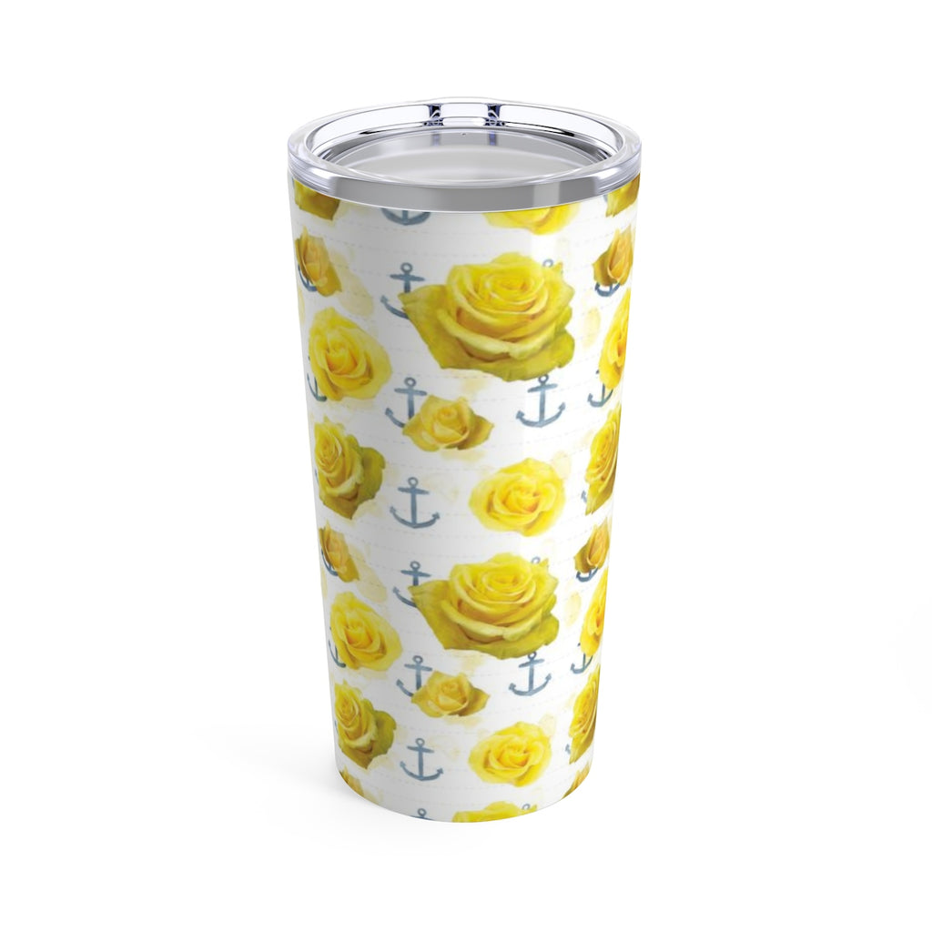 Yellow Roses and Anchors Beverage Tumbler
