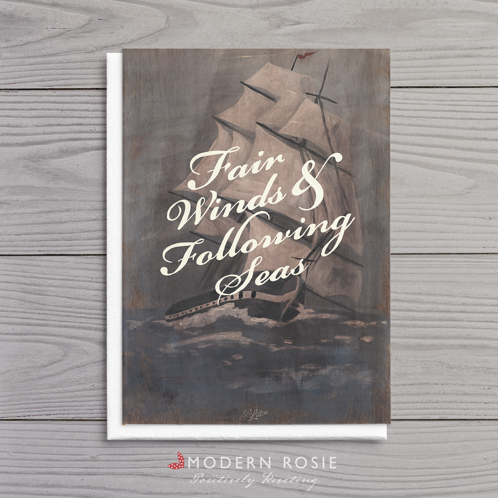 Fair Winds - 5x7 Farewell Folded Card