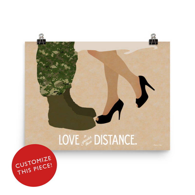 Love is Greater than Distance (Combat boots and heels) - Art Print
