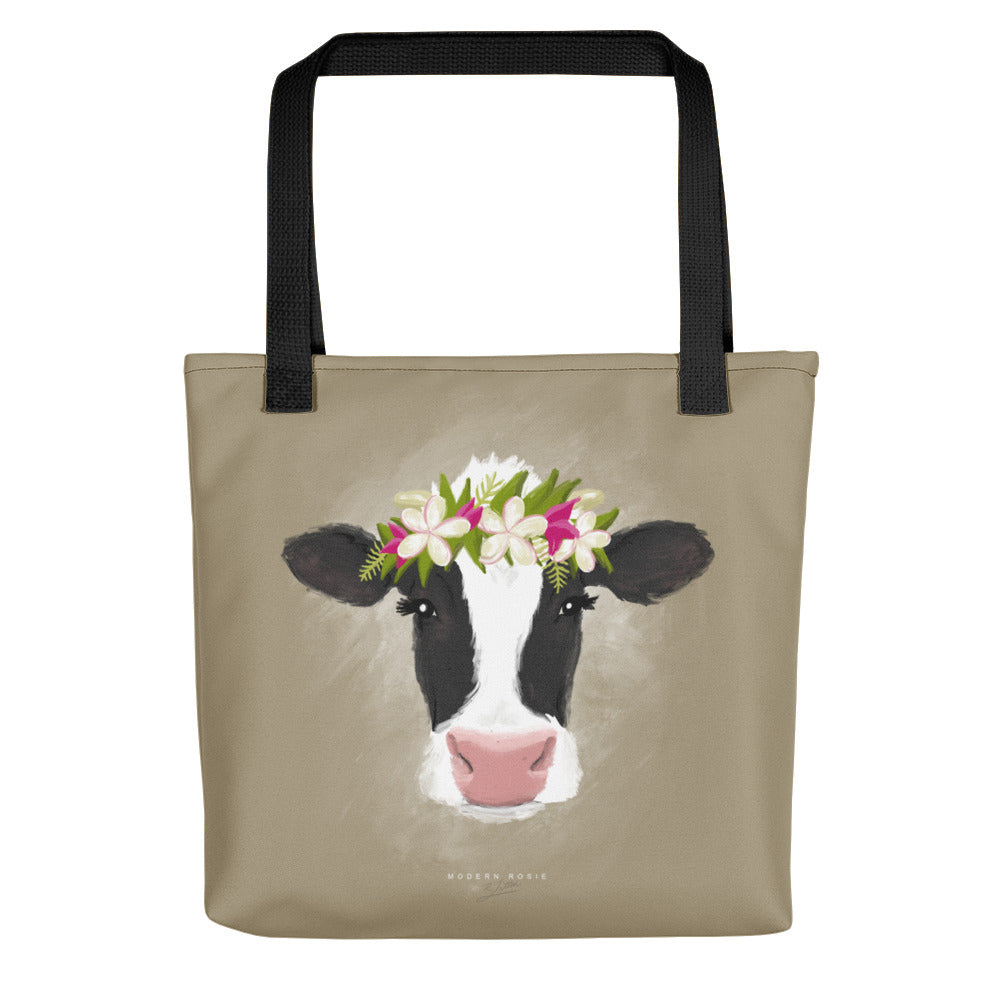 Aloha Cow Tote bag in Cream