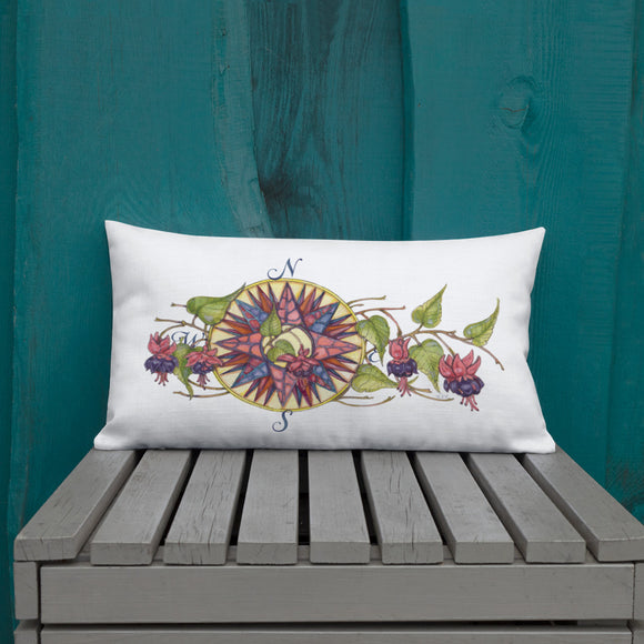 Floral Compass - Fuchsia Rectangular Throw Pillow from Modern Rosie