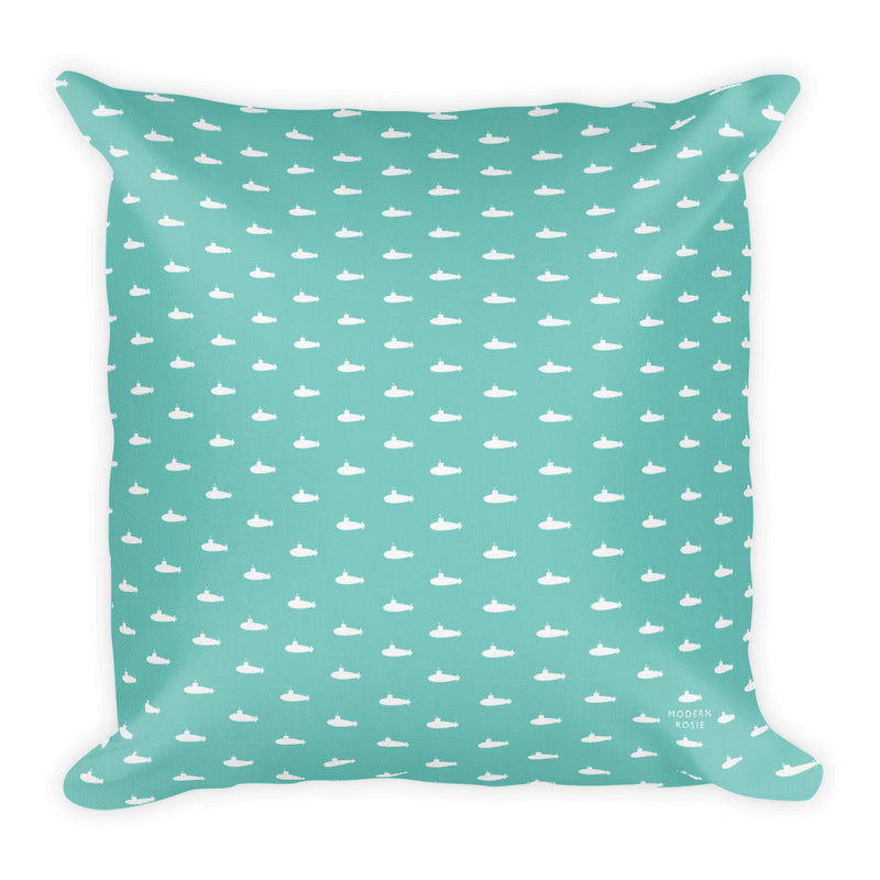Tiny Submarines (in Teal) Throw Pillow
