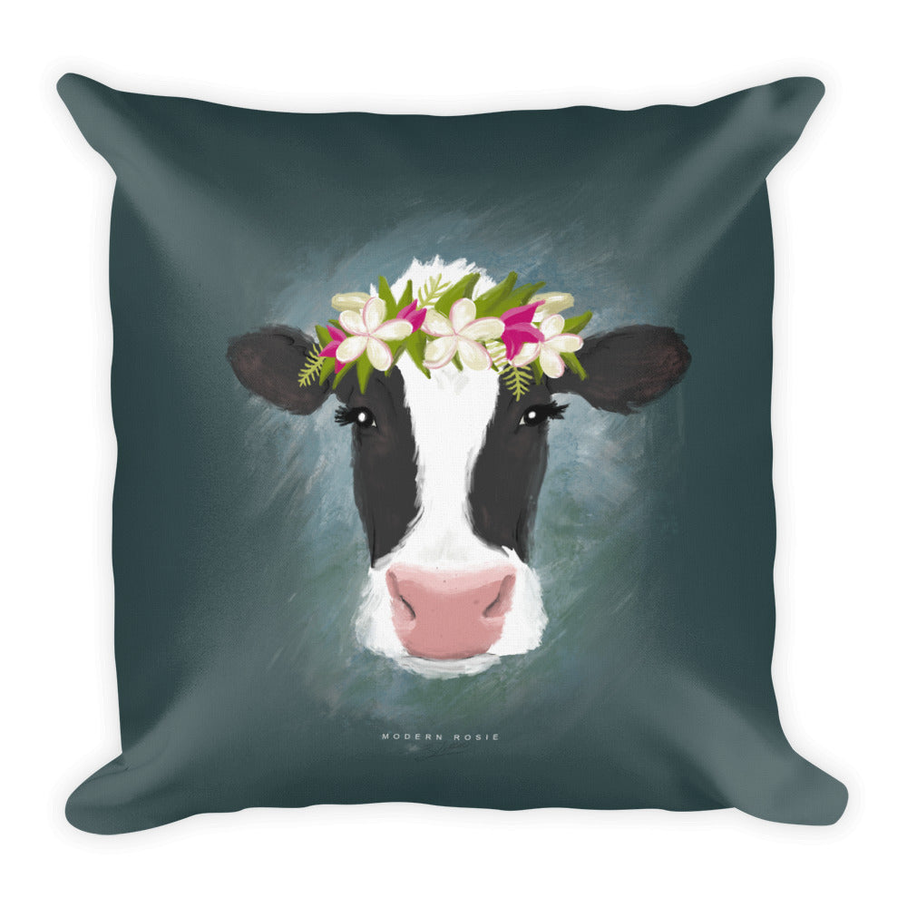 Aloha Cow Throw Pillow in Teal