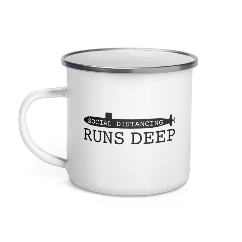 Social Distancing Runs Deep - Submarine Enamel Camp Mug