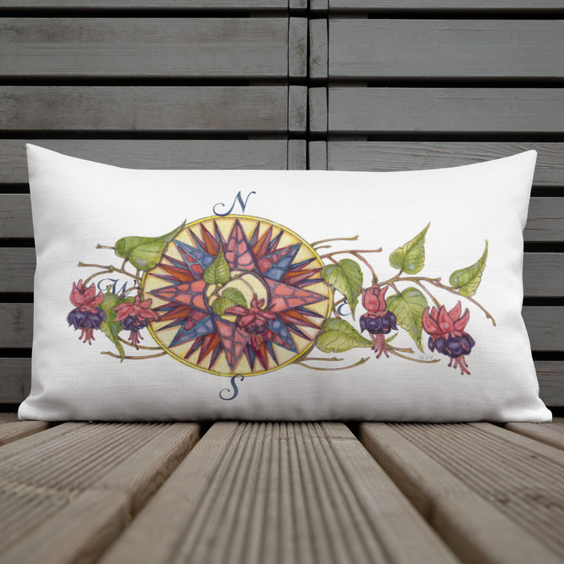 Floral Compass - Fuchsia Rectangular Throw Pillow