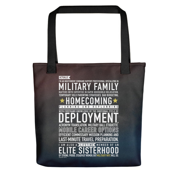 "The ""Military Wife Will Do"" Tote bag from Modern Rosie"