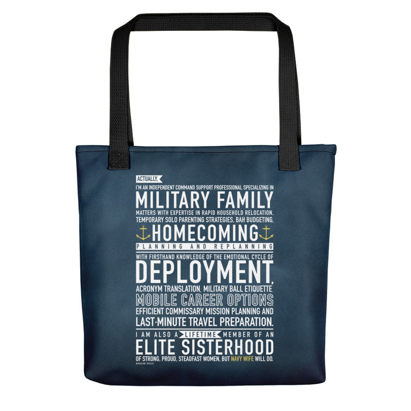 "The ""Navy Wife Will Do"" Tote bag"