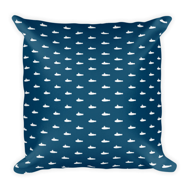 Tiny Submarines Throw Pillow in Navy