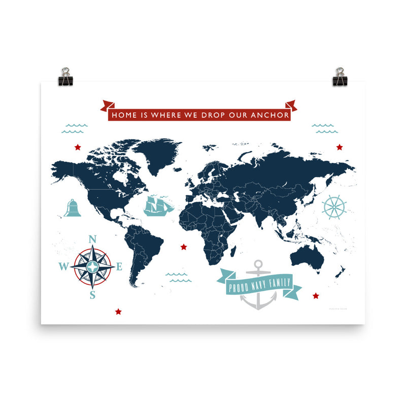 World Map: Home is Where We Drop Our Anchor - Americana - Art Print
