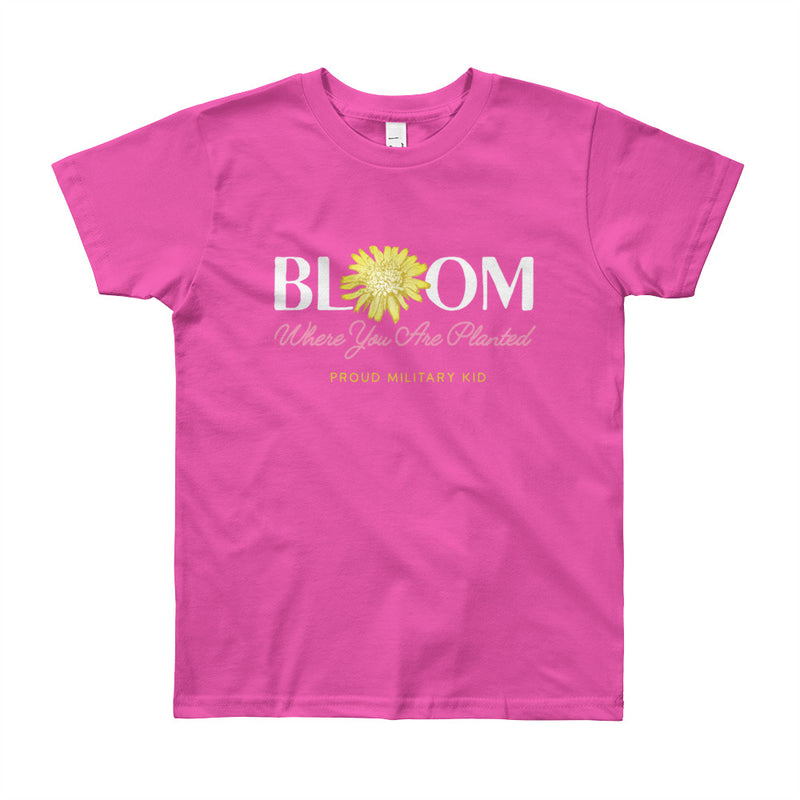 "Proud Military Kid ""Bloom"" Tee - big kids"