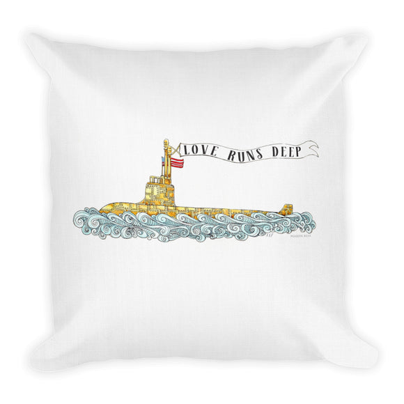 Love Runs Deep Submarine Throw Pillow from Modern Rosie