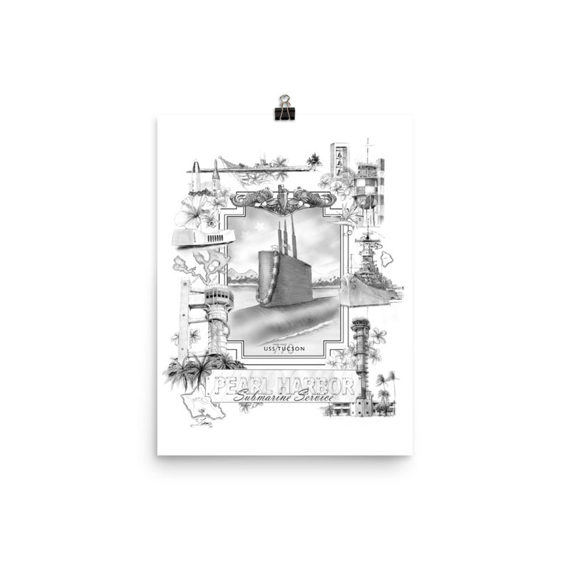 Pearl Harbor Sub Service (Black and White Version) Custom USS Tucson