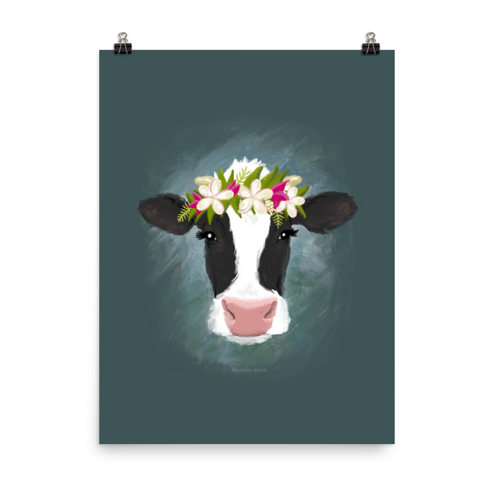 Aloha Cow (on blue) - Art Print