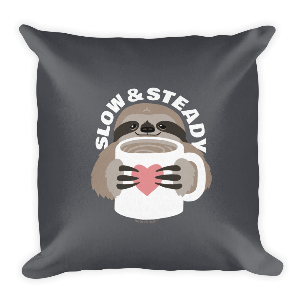 Slow and Steady Sloth Throw Pillow