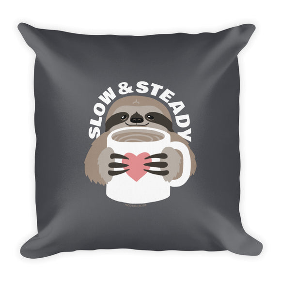Slow and Steady Sloth Throw Pillow from Modern Rosie