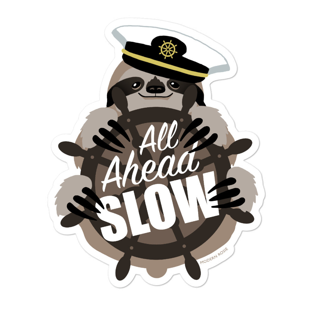 All Ahead Slow - Nautical Sloth Sticker