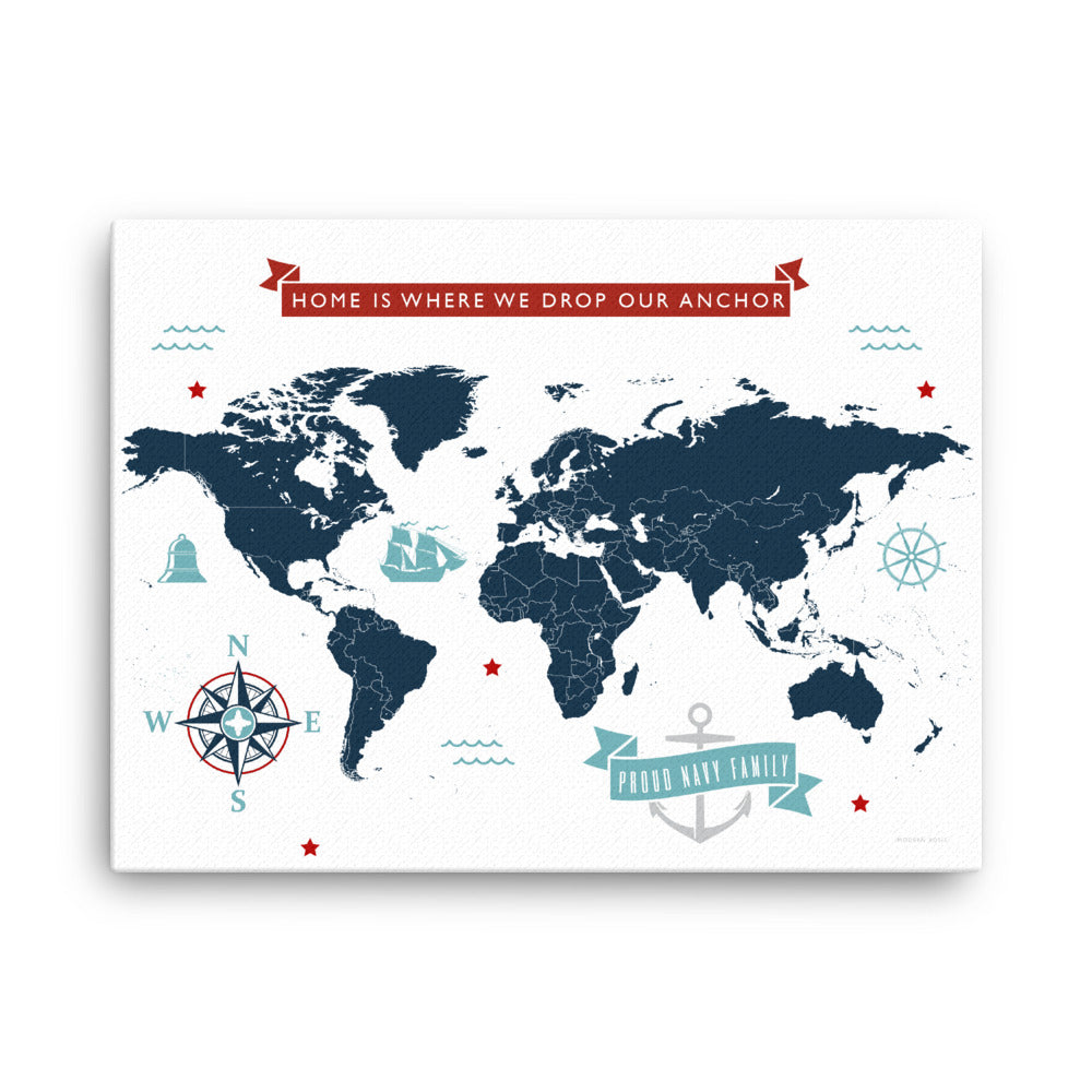 World Map: Home Is Where We Drop Our Anchor - Americana - Art on Canvas