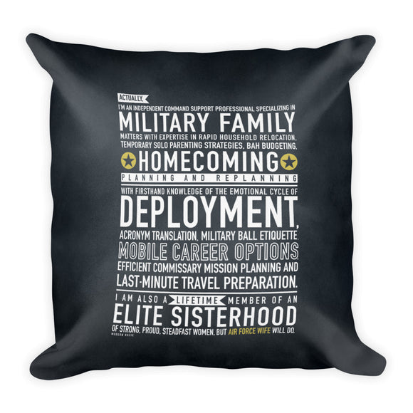 "The ""Air Force Wife Will"" Throw Pillow from Modern Rosie"